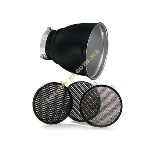 Рефлектор BOWENS GRID 60° REFLECTOR 18cm  WITH 3 GRIDS в комплекте с тремя сотами 1/8,3/16,1/4